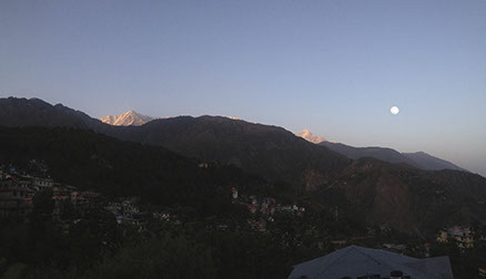 Moon and mountain in Dharamsala